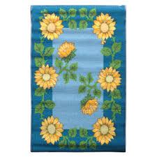 tapis cuisine pas cher tapis bio line tournesol 80x50cm bleu tapis de cuisine