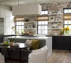 earth tone brick kitchen transitional with antiques counter height