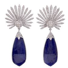 tanzanite earrings diamond sunburst and tanzanite earrings for sale at 1stdibs