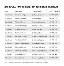 week 9 tv schedule times 2013 with mccarthy