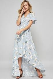 Light Blue High Low Dress Sarah Floral Wrap Dress In Light Blue Spring Summer Fashion
