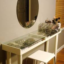 custom glass top makeup vanity table with makeup storage and