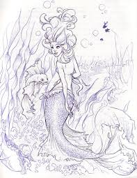 red fin mermaid sketch by illogan on deviantart