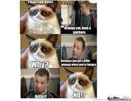 Grumpy Cat Meme I Had Fun Once - grumpy cat snickers by smoke225 meme center