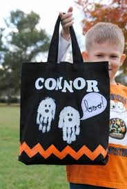 personalized trick or treat bags trick or treat bag with handprint ghosts