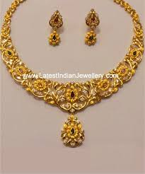gold necklace set jewellery images Dual tone gold necklace set gold necklaces gold and jewel jpg