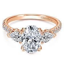 engagement rings stones images 14k rose gold oval 3 stones engagement ring er9048k44jj jpg
