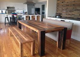 bench reclaimed wood dining table with bench trend modern