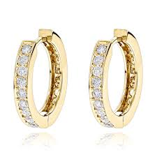 diamond huggie earrings small hoop earrings 14k gold inside out diamond huggie earrings 1 2ct