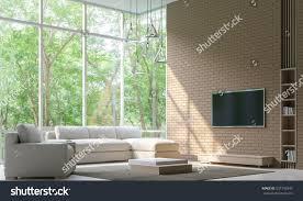 Modern Living Room Decorate Wall Brick Stock Illustration
