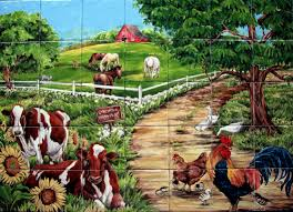 Ceramic Tile Murals For Kitchen Backsplash Farm Welcome Custom Tile Mural