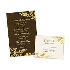personalized wedding invitations golden leaves personalized wedding invitations with response cards