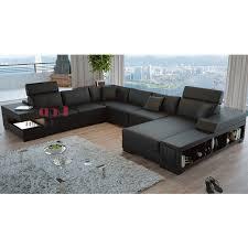 canapé d angle avec rangement canapé d angle panoramique en cuir santiago avec éclairages pop