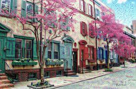row homes philadelphia row homes in the spring van pelt street painting by
