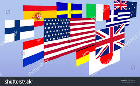 Countries Of The World Flags Flags Different Countries World On Blue Stock Illustration