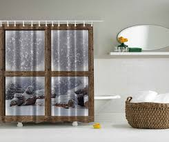 Bathroom Shower Windows Amazon Com Rustic Winter Christmas Shower Curtain By Ambesonne