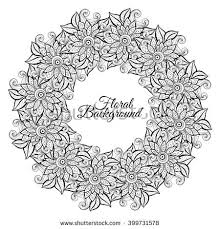 monochrome floral background hand drawn ornament stock