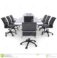 laptops on office round table and chairs royalty free stock