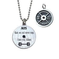Engraving Necklaces 45 Lb Weight Plate Necklace Fitness Jewelry Iron Strong Jewelry
