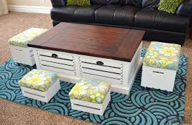 Wooden Coffee Table With Drawers Crate Storage Coffee Table And Stools Her Tool Belt