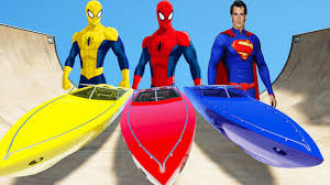 superman u0026 spiderman color epic party boat colors fun cartoon
