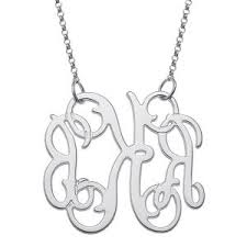 3 Initial Monogram Necklace Sterling Silver Sterling Silver Initial Monogram Necklace Medium Ksvhs Jewellery