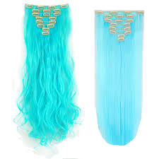 teal hair extensions real as human hair 8pcs clip in hair extensions