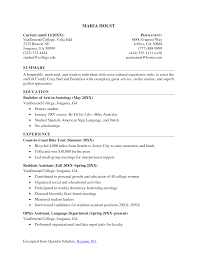 resume objective for college student 2017 sample undergraduate