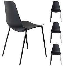 Molded Dining Chairs Alessia Set Of 4 Black Dining Chairs Mid Century Modern Style