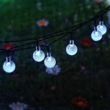 Solar Powered Outdoor Fairy Lights by Kingleder 20ft 30 Led Waterproof White Crystal Ball Solar String