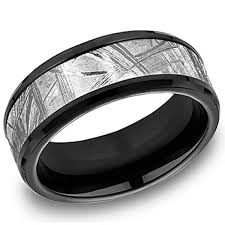 men s wedding bands benchmark forge meteorite comfort fit black silver mens wedding band
