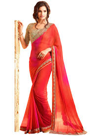 redcolor paaneri designer red color foissil georgette saree product code