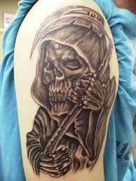 death grim reaper shoulder tattoo for men in 2017 real photo