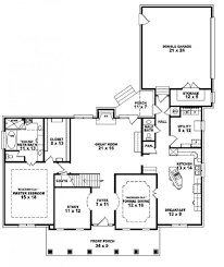 one and half story bedroom bath southern country level home plan