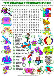 toys wordsearch puzzle vocabulary worksheet icon education