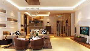 Living Dining Room Luxurious Living Room Design With Luminous Tray Ceiling Lights On