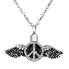 ashes necklace holder angel wing birthstone cremation jewelry ash holder funnel pendant