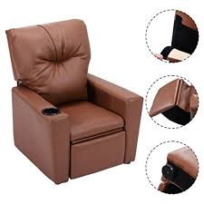 amazon com kids recliner with cup holder brown leather sofa chair
