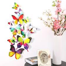 online get cheap 3d butterfly art aliexpress com alibaba group 2017 modern 12pcs decal wall stickers kids diy 3d butterfly rainbow decal home art for living