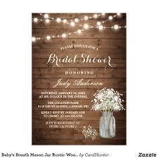 Death Anniversary Invitation Card Baby U0027s Breath Mason Jar Rustic Wood Bridal Shower Card Bridal