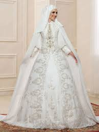 wedding dress muslim luxurious beading sleeves high neck muslim wedding dress