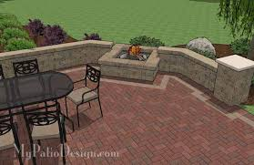 Backyard Brick Patio Design With Seating Wall And Fire Pit Plan - Patio wall design