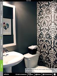 black and white wallpaper in a powder room decorating ideas