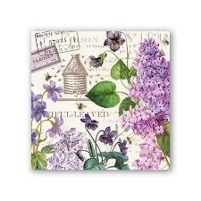 michel design works cocktail napkins lilac and violets
