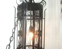 Vintage Wrought Iron Chandeliers Vintage Wrought Iron Hanging Lamp Etsy