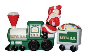 plastic light up santa on and tender car by general foam