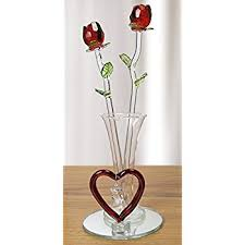 Heart Shaped Glass Vase Amazon Com Glass Roses Red Roses In Glass Vase Frosed Glass