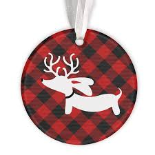 plaid reindeer dachshund christmas tree ornament u2013 the smoothe store