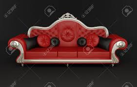 red leather sofa with cushions stock photo picture and royalty