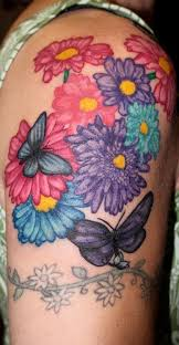 color flower and butterfly by lara higgs tattoos